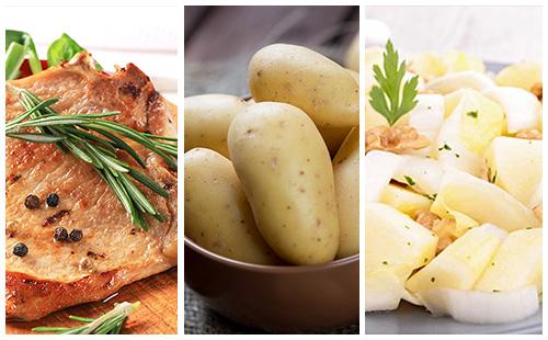 Côte de porc au romarin, pommes de terre et salade d'endives
