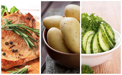 Côte de porc au romarin, pommes de terre et salade de concombre