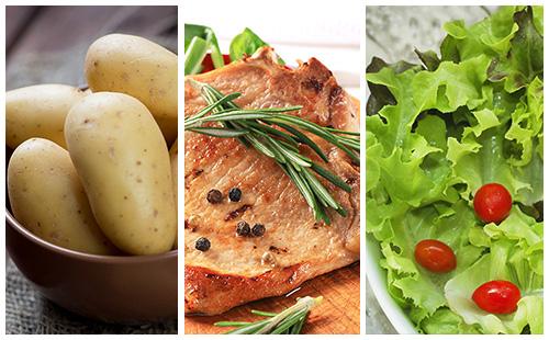 Côte de porc au romarin, pommes de terre et salade verte