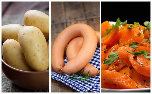 Saucisses aux carottes et pommes de terre