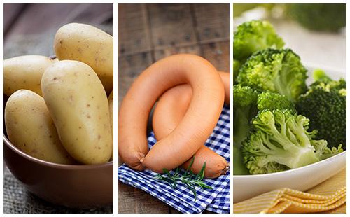 Saucisses aux pommes de terre et brocolis