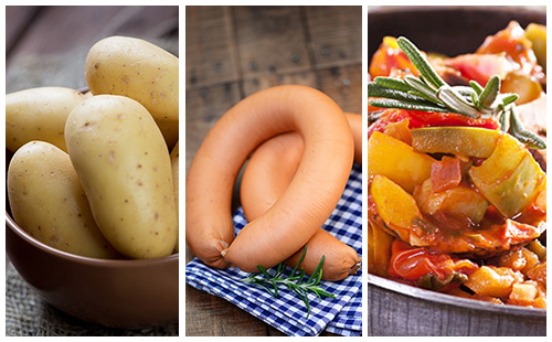 Saucisses aux pommes de terre et ratatouille