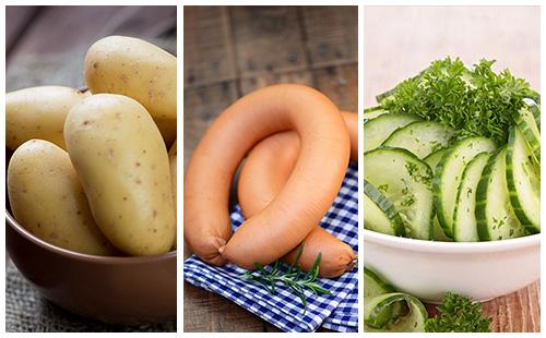 Saucisses aux pommes de terre et salade de concombre