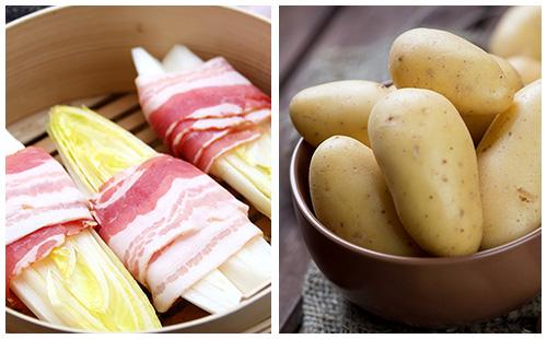 Bacon aux pommes de terre et endives braisées