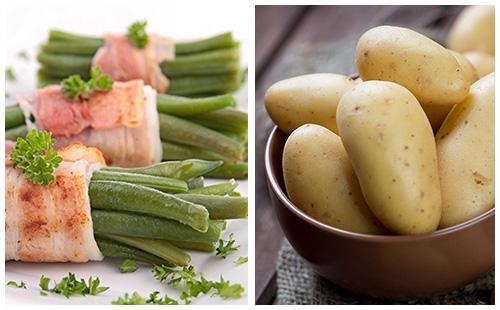 Pommes de terre au bacon et aux haricots verts