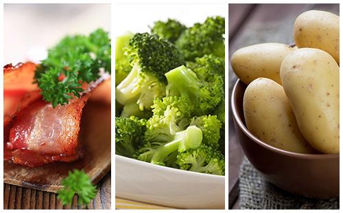 Pommes de terre au bacon et brocolis