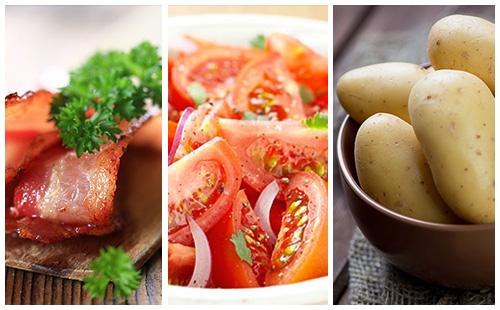 Pommes de terre au bacon et salade de tomates