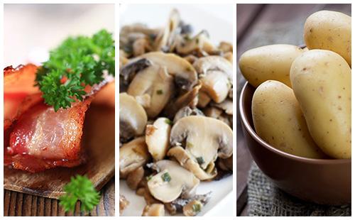 Pommes de terre aux champignons et bacon