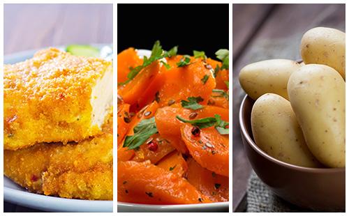 Poulet pané, pommes de terre et carottes