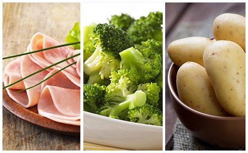 Pommes de terre au jambon et brocolis