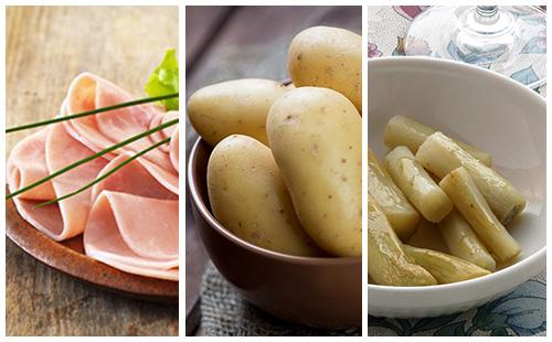 Pommes de terre au jambon et salsifis
