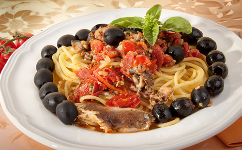 Pâtes aux sardines et olives