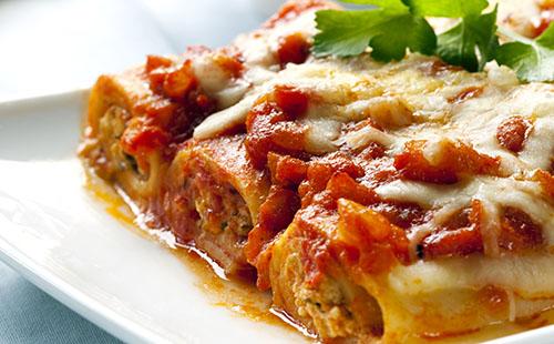 Cannelloni farcis aux pois chiches, béchamel