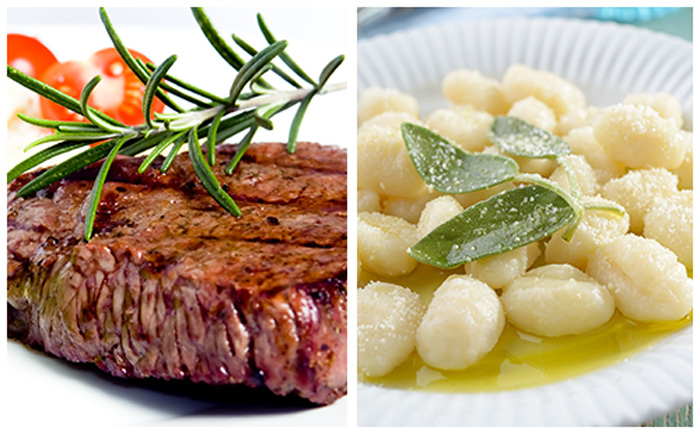 Bifteck et gnocchi