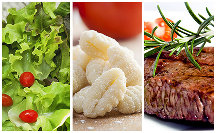 Bifteck, gnocchi et salade verte