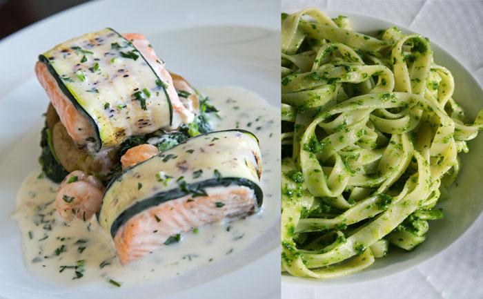Roulés de courgettes au saumon et pâtes