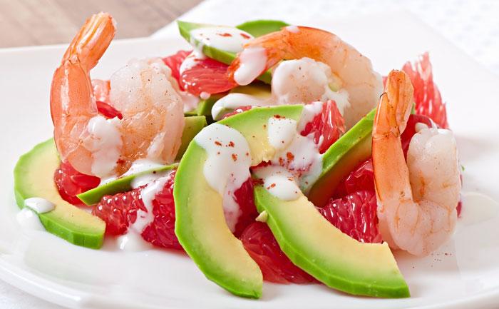 Salade de crevettes au pamplemousse et à l'avocat