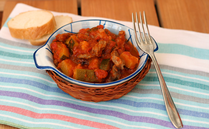 Boeuf au paprika, courgettes