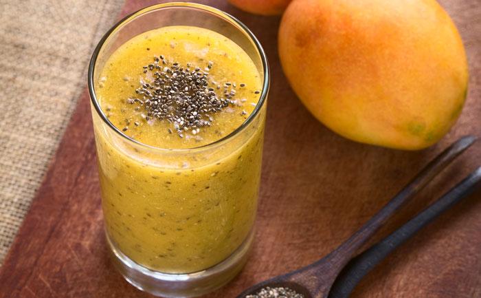 Pudding aux graines de Chia et purée de mangue