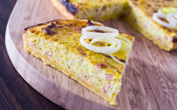 Quiche lardons, oignon, fromage