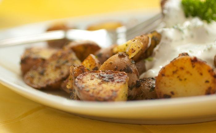 Pommes de terre sautées au fromage blanc