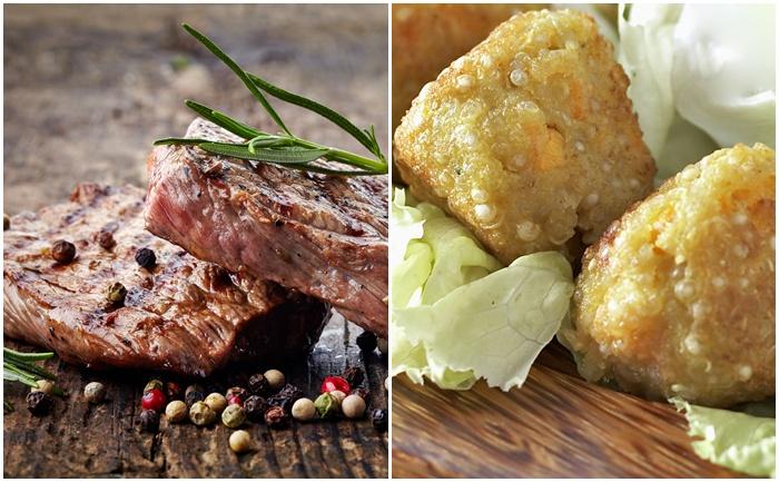 Bifteck et croquettes de quinoa