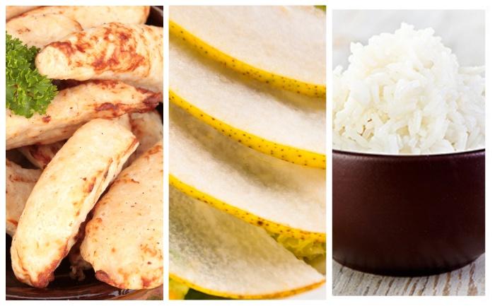 Aiguillettes de poulet aux poires & riz