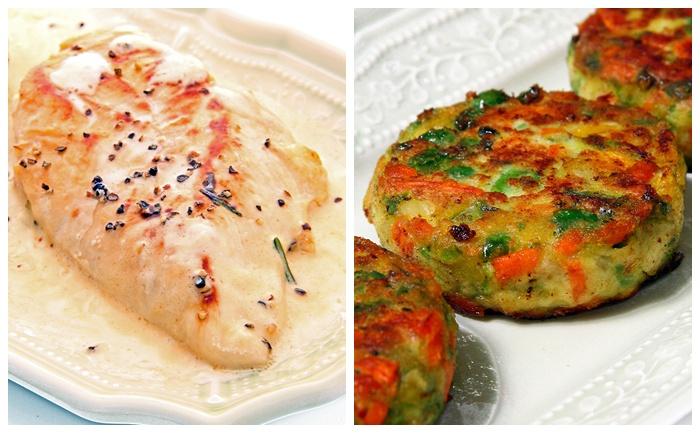 Filets de poulet sauce au boursin et galettes de légumes