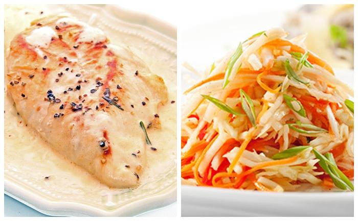 Filets de poulet sauce au boursin et julienne de légumes