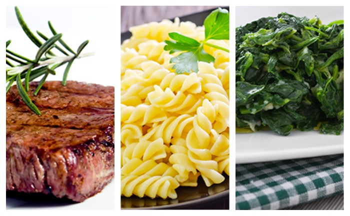 Bifteck, pâtes et épinards