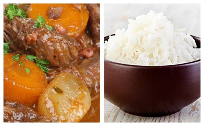 Boeuf braisé au paprika, riz