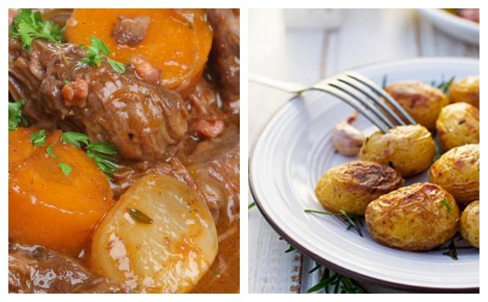 Boeuf braisé au paprika, pommes de terre au four