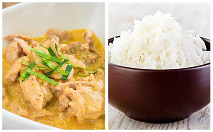 Poulet au lait de coco et au paprika, riz