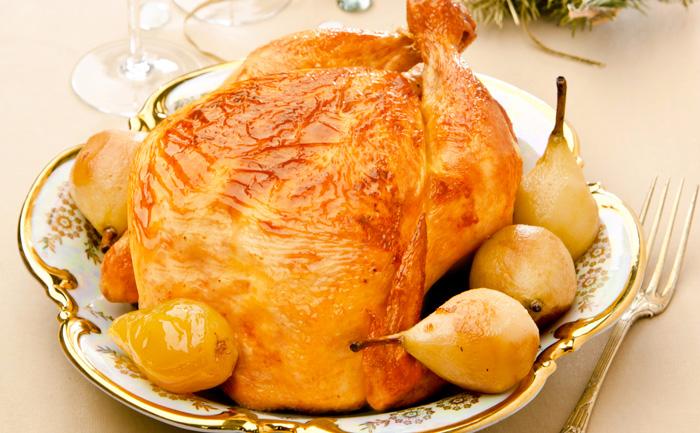 Chapon farci aux poires et au foie gras