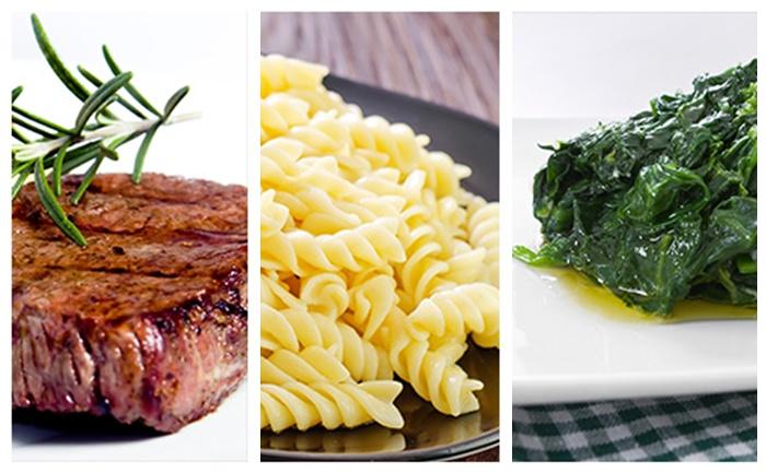 Bifteck, pâtes et épinards à l'échalote