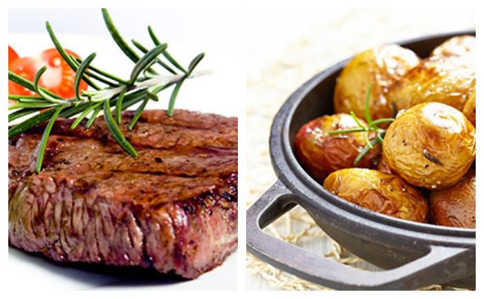 Bifteck et grenailles cuites au four