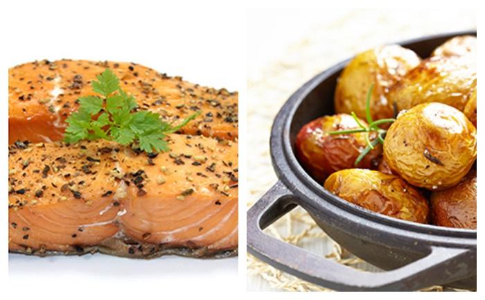 Saumon et grenailles au four