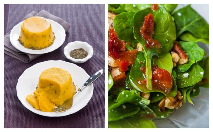 Flans de potiron et salade aux noix et bacon