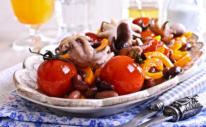 Salade de poulpe aux haricots
