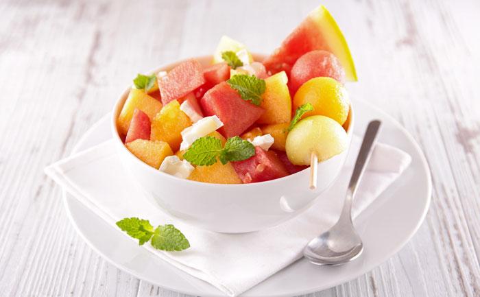 Salade au melon et à la pastèque