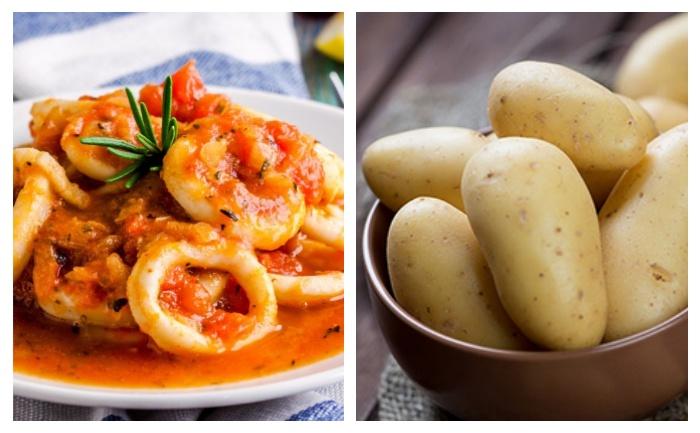 Calmars grillés à la tomate et pommes de terre