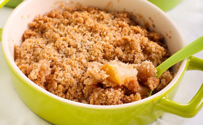 Crumble aux pommes végétalien sans gluten