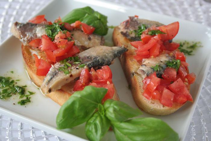 Bruschetta de sardines