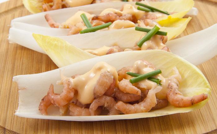 Barquettes d'endives aux crevettes