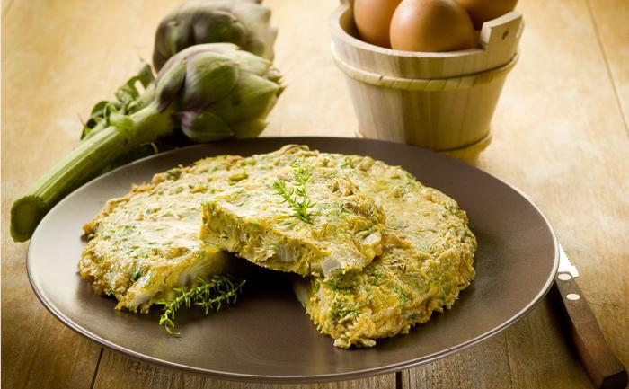 Omelette bretonne aux artichauts