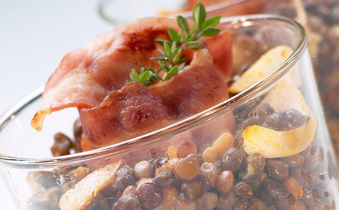 Verrine de lentilles au bacon