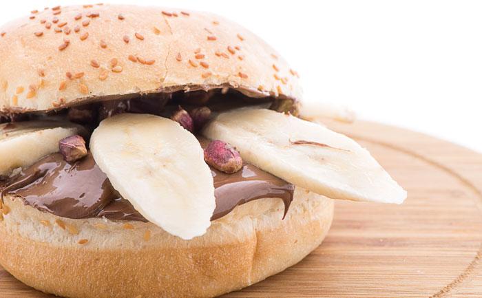 Burger chocolat pommes bananes
