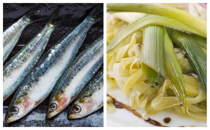 Filets de sardines et fondue de poireaux