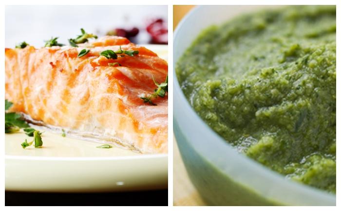 Pavé de saumon et purée de brocolis