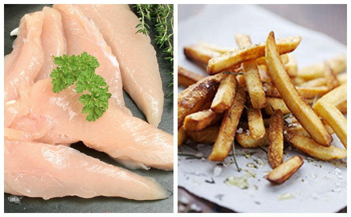 Filets de lapin et frites au four